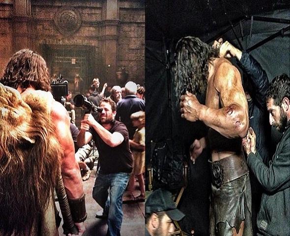 Dwayne Johnson en dos imágenes del rodaje