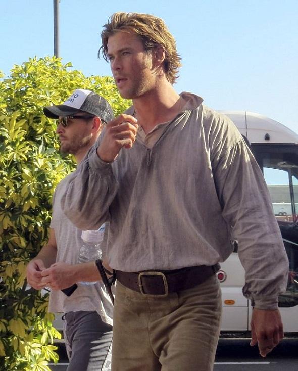 Chris Hemsworth durante el rodaje de 'In the heart of the sea'