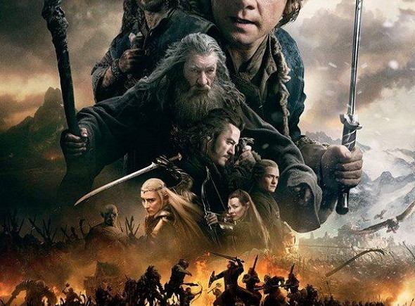 Póster en inglés de 'El Hobbit: la batalla de los cinco ejércitos'