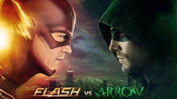 Imagen promocional del crossover The Flash VS Arrow