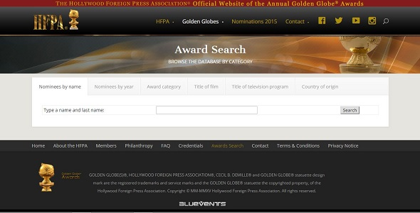 HFPA. Base de datos de los Gloos de Oro